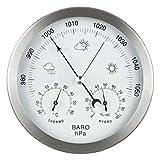 GardenMate® Wetterstation analog 3in1 Edelstahlrahmen Ø 14 cm Barometer Thermometer Hygrometer